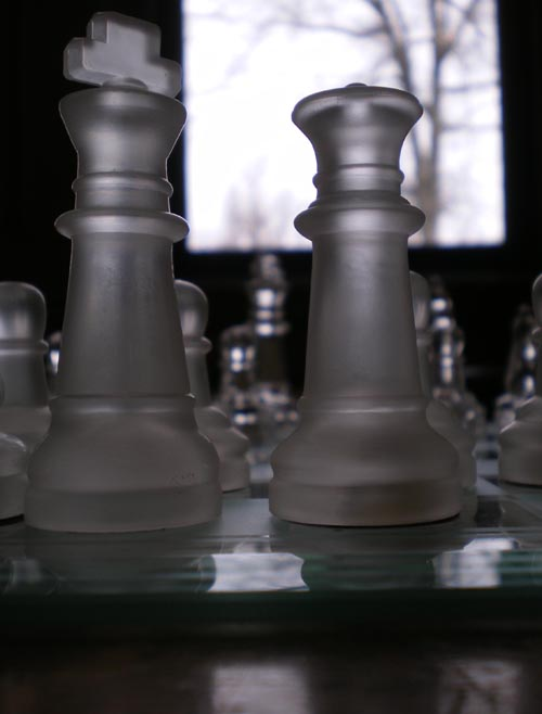 photo of crystal chess pieces