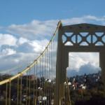 pittsburgh hills in autumn and bridge