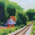 pastel painting of house by train tracks