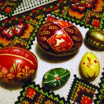 photo of pysanky on traditional cross-stitch cloth