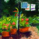 pastel sketch of garden