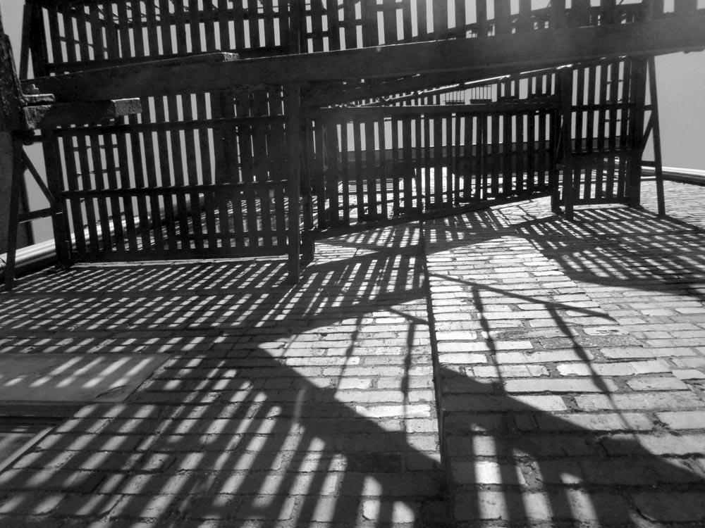 black and white photo of fire escape