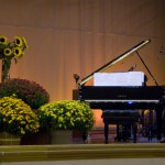 piano with chrysanthemums