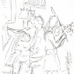 ink sketch of musicians
