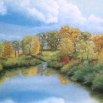 pastel painting of autumn scene