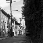 black and white photo of street