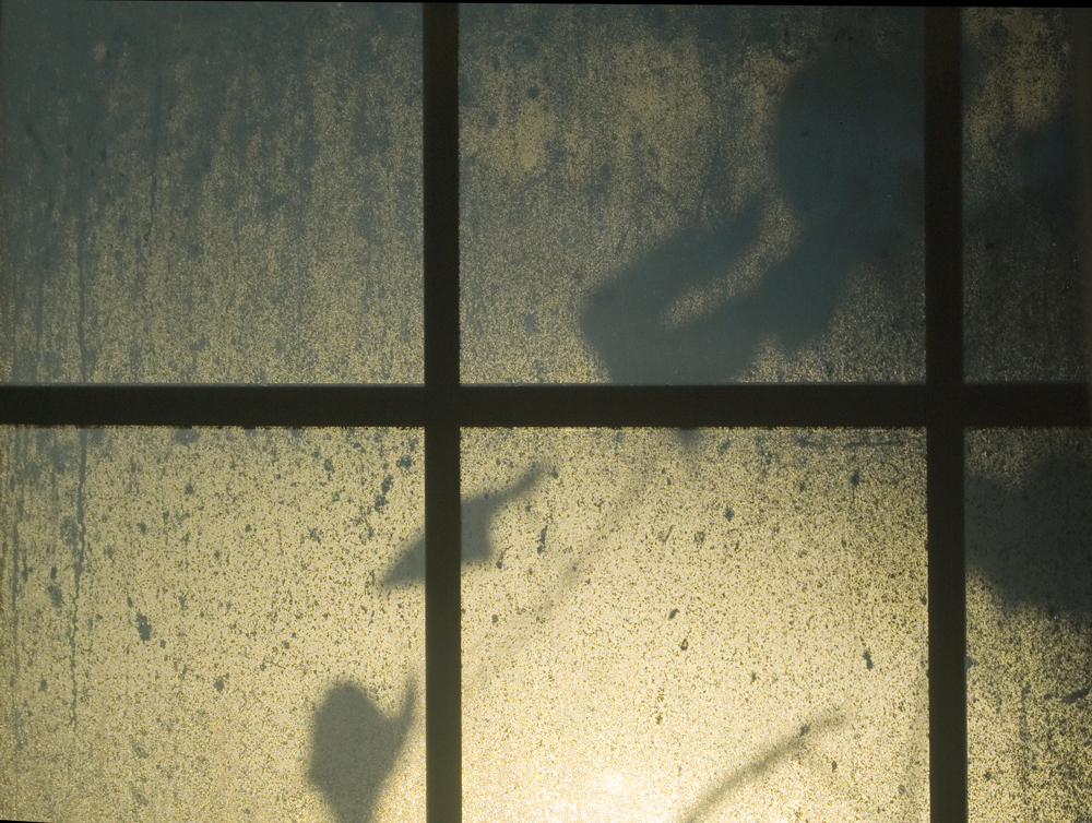 photo of window with mist and shadows