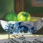 pastel painting of ceramic bowl of apples on crocheted cloth
