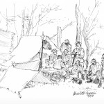 ink sketch of civil war reenactors in camp