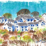 pastel sketch of white houses on hill