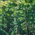 pastel painting of woods on back road
