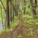 pastel painting of a trail in the woods