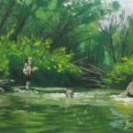 pastel painting of three kids in swimming hole