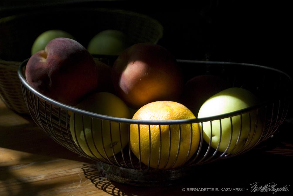 Wire basket of fruits