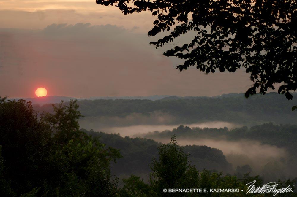 red misty sunset