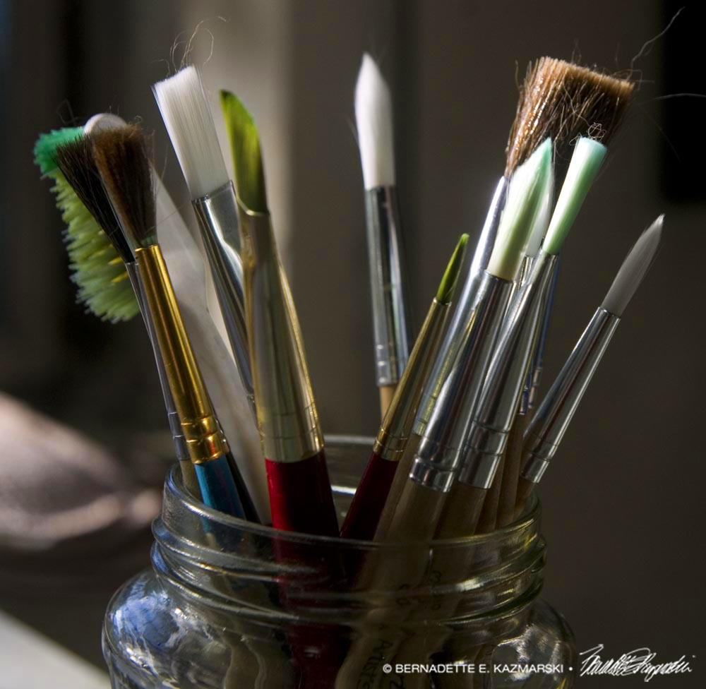 brushes in jar